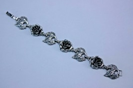 Danecraft Sterling Silver Bracelet Rose and Leaf Flower Panel Vintage Si... - $128.65