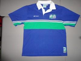 Australia 2003 IRB Rugby World Cup Blue & Green Stripe Reebok Polo Shirt... - $729,50 MXN