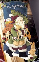 Woodland Santa Gifts Teddy Bear Christmas Felt Stocking Kit Bucilla 85179 E - $74.95