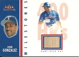 2003 Fleer Tradition Milestones Game Used Juan Gonzalez Rangers - $4.00