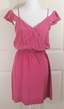 NWT Joie Sari Raspberry Pink 100% Silk Cold Off Shoulder Elastic Waist D... - $59.95