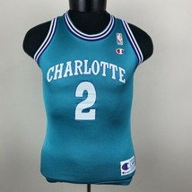 Vintage Champion Jersey Charlotte Hornets Larry Johnson NBA 90s Boys M 1... - $27.00