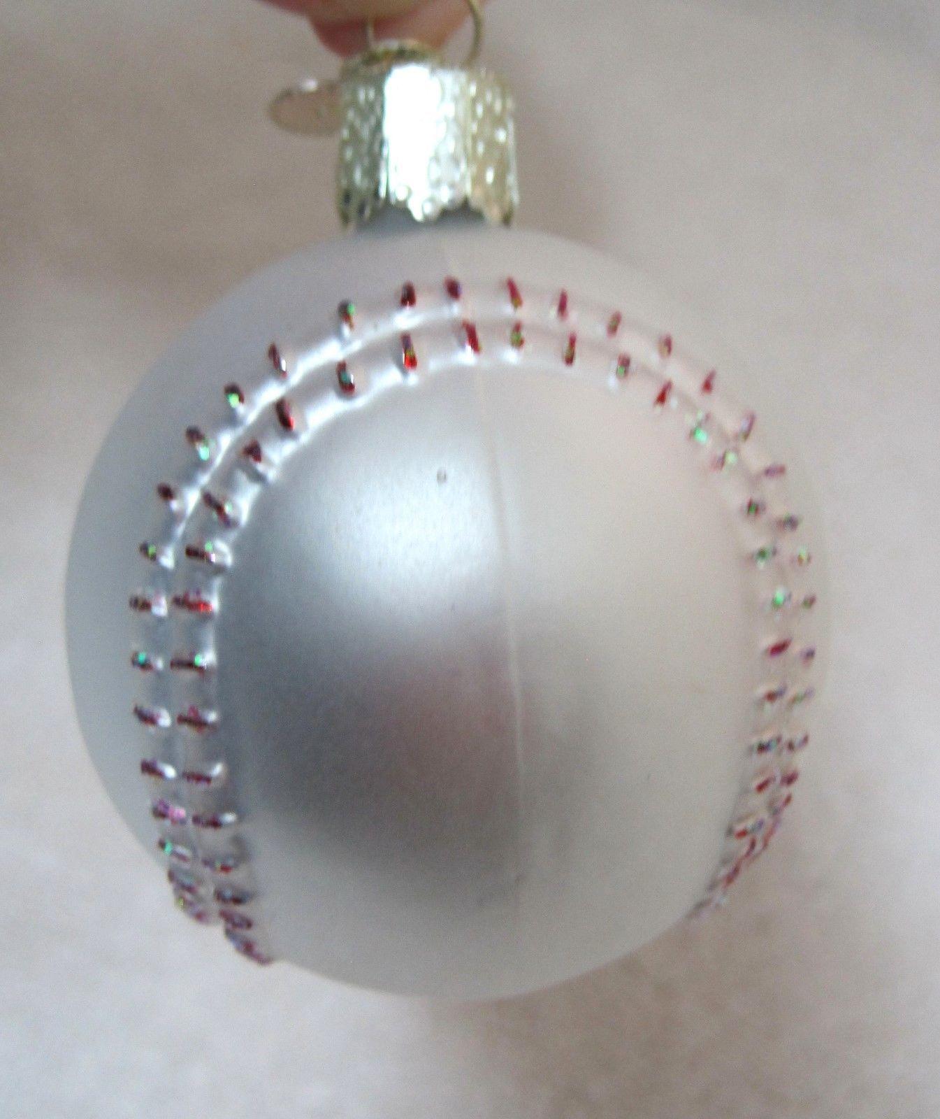Old World Christmas Glass Ornament White Baseball w Hang Tag Charm NICE!  - $12.38