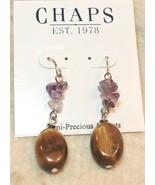 Chaps by Ralph Lauren Silver Tone Semi Precious Accents Dangle Earrings - $12.86