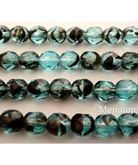 25 6 mm Czech Glass Fire Polished Beads: Teal Tortoise - $1.85