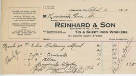 1912 Reinhard & Son Billheaad Lebanon PA Tin sheet Iron Worker Neversink... - $5.00