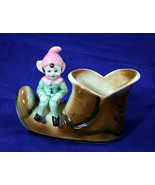 Vintage Ceramic Pixie Elf Sitting on a Shoe - Japan - $5.99