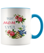 New Best Mom Ever Mother's Day Gift Accent Coffee Cup Two-Tone Rim and H... - £11.39 GBP