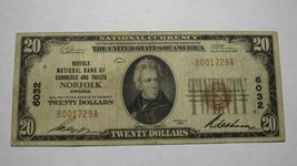 $20 1929 Norfolk Virginia VA National Currency Bank Note Bill Charter #6... - $121.54