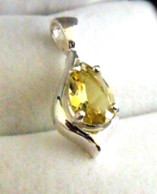 Gorgeous Fancy Yellow Emerald / Sterling Silver Pendant from KT Elegant ... - $114.95