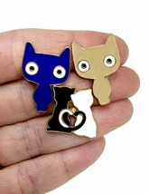 Set of 3 Little Cats Kitten Enameled Lapel Pin in Blue, Beige, Blue and White - $11.35