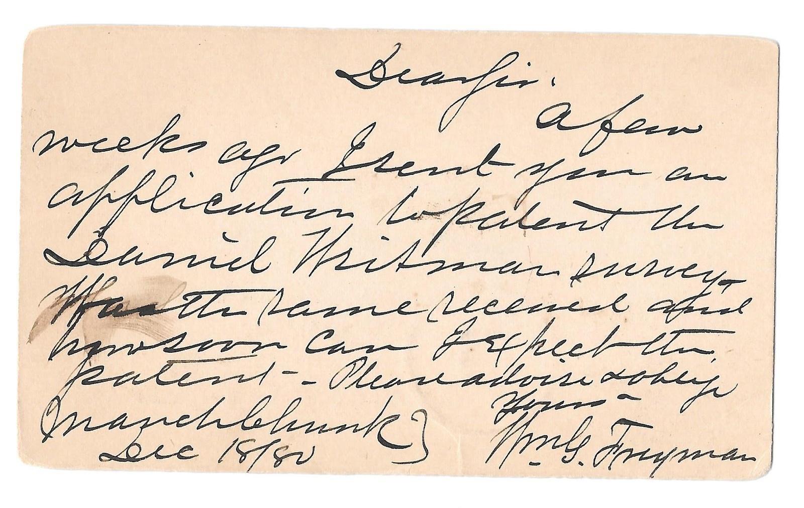 UX5 DPO Mauch Chunk PA 1880 Fancy Bullseye Target Cancel Postal Card Freyman image 2