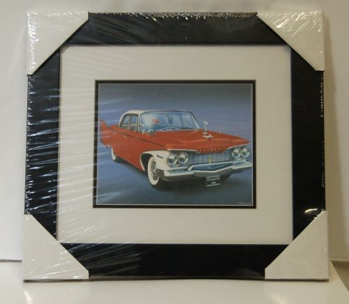 Made On Earth 6716 1960 Red Plymouth Belvedere Matted Framed Serial 3624527