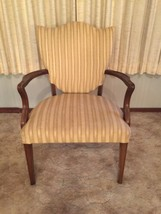Vintage Antique Armchair With Striped Cream Colored Fabric - $99.00