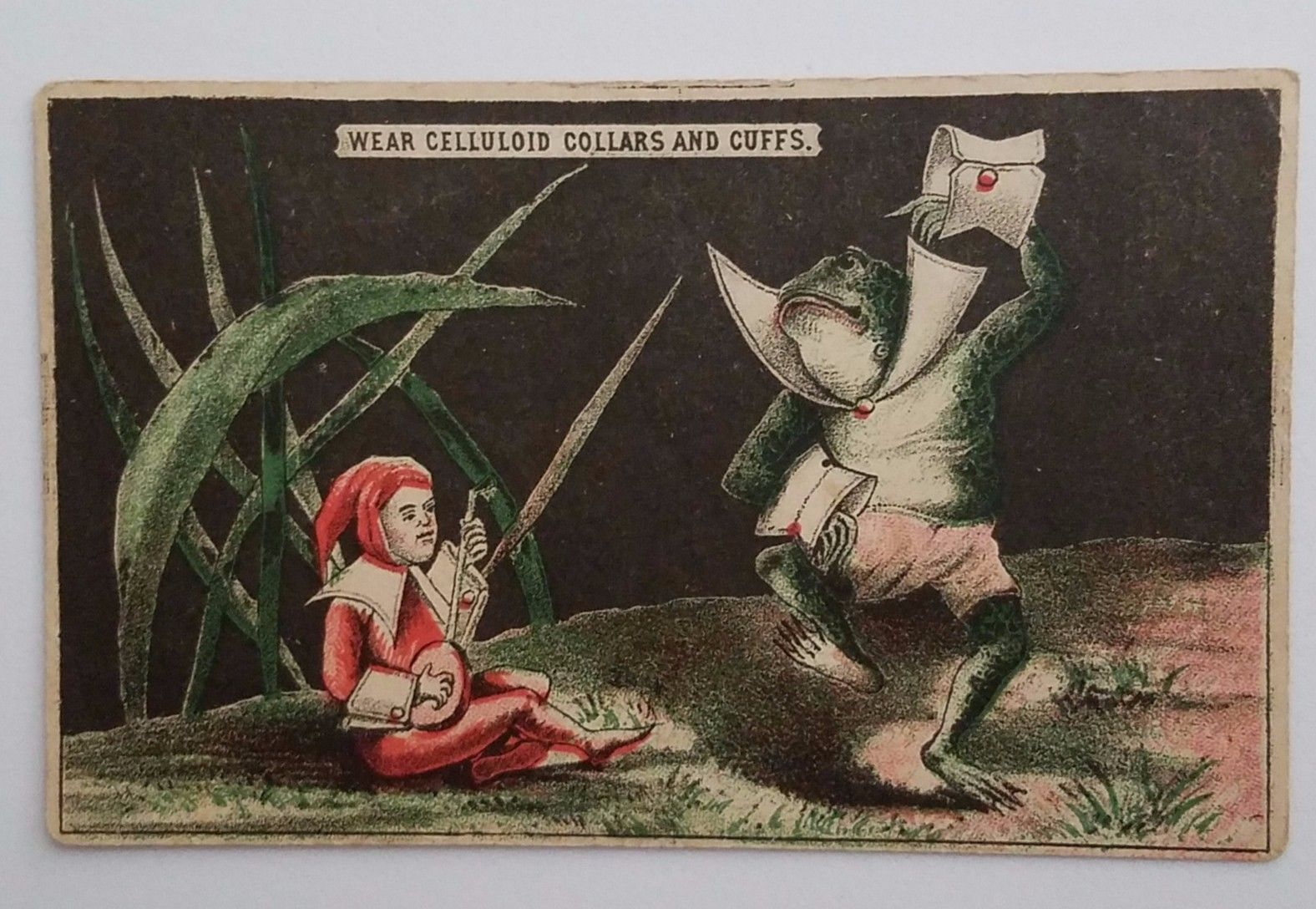 Victorian Trade Card Celluloid Collars & Cuffs Anthropomorphic Frog Lute Dancing
