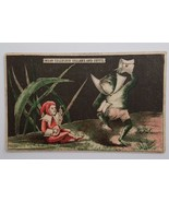 Victorian Trade Card Celluloid Collars & Cuffs Anthropomorphic Frog Lute... - $6.95