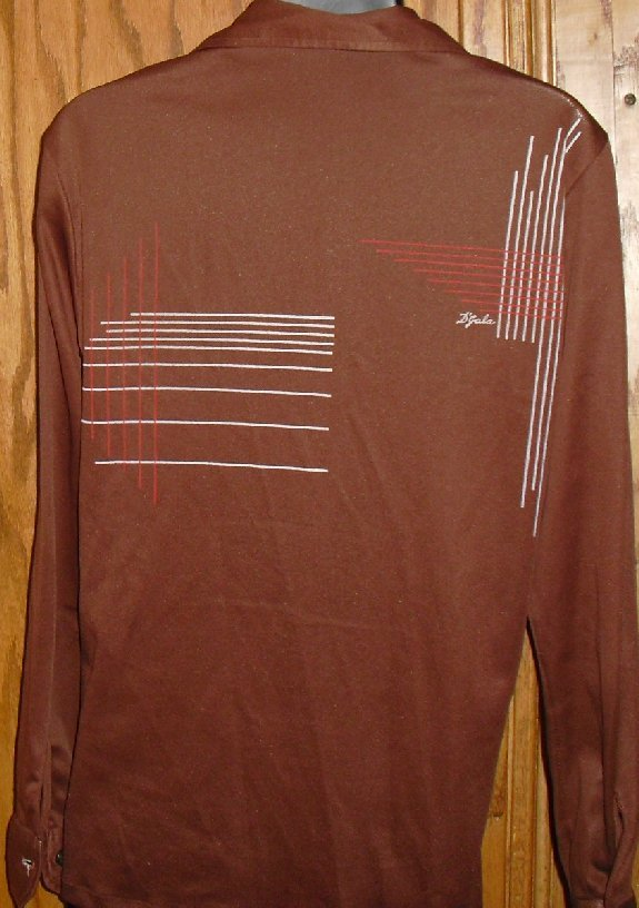 Vtg 70s DISCO Pimp D'GALA signed Abstract brown Shirt