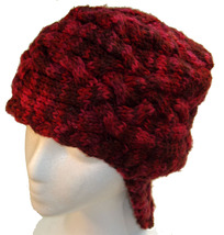 Deep Red Hand Knit Hat with neck flap - $25.00