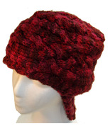 Deep Red Hand Knit Hat with neck flap - $25.79