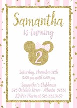 Minnie Mouse Pink Gold Glitter Birthday Invitation Personalized Custom - £9.07 GBP