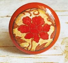 Deco Flower Knob Drawer Pulls, Handmade Orange Gold Floral Cabinet Pull ... - $5.94