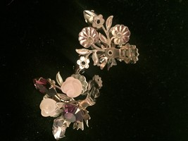 Vintage Hope Chest purple cluster gems brooch and clip on earrings set image 5