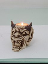 PTC Pacific Giftware Devil with Horns Hand Painted Resin Candle Holder, Beige - $10.99