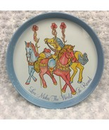 Carousel Horses Collectible Round Vtg 89 Tin Tray Love Makes the World G... - $14.95