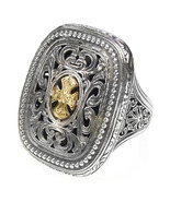 Gerochristo 2626 - Solid Gold & Silver Medieval-Byzantine Cross Ring / ... - $305.00