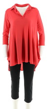 Women with Control 3/4 Sleeve Jersey Tunic Crop Pants Set Hibiscus M NEW A290083 - $36.61