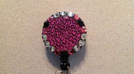 Leopard Pink Badge Reel Id Holder Swarovski Crystals Alligator Clip New ... - $10.99