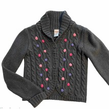 Gymboree Gray Cable Knit Pom Pom Cardigan Sweater - Medium (7-8) Girls - $17.95