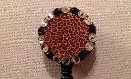 Leopard Print Badge Reel Id Holder Swarovski Crystals New Handmade Black... - $10.99