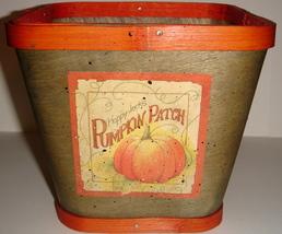 Green Colored Wooden Basket w/ Happy Jack's Pumpkin Patch - $9.00