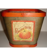 Green Colored Wooden Basket w/ Happy Jack's Pumpkin Patch - $9.00