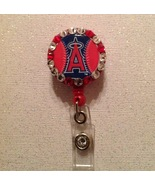 Mlb Los Angeles Angels Badge Reel Id Holder Swarovski red alligator clip... - $9.95