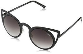 Quay Australia INVADER Women's Sunglasses Metal Cat Eye Frame - Black/Smoke - $37.62