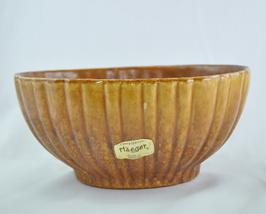 Haeger Brown Ribbed Vase gold drip glaze foil marked 4020 - $10.00