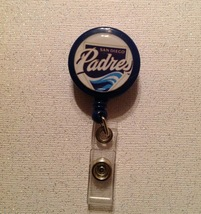Mlb San Diego Padres Badge Reel Id Holder blue alligator clip handmade new - $6.95