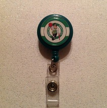 Nba Boston Celtics Badge Reel Id Holder green alligator clip handmade new - $6.95