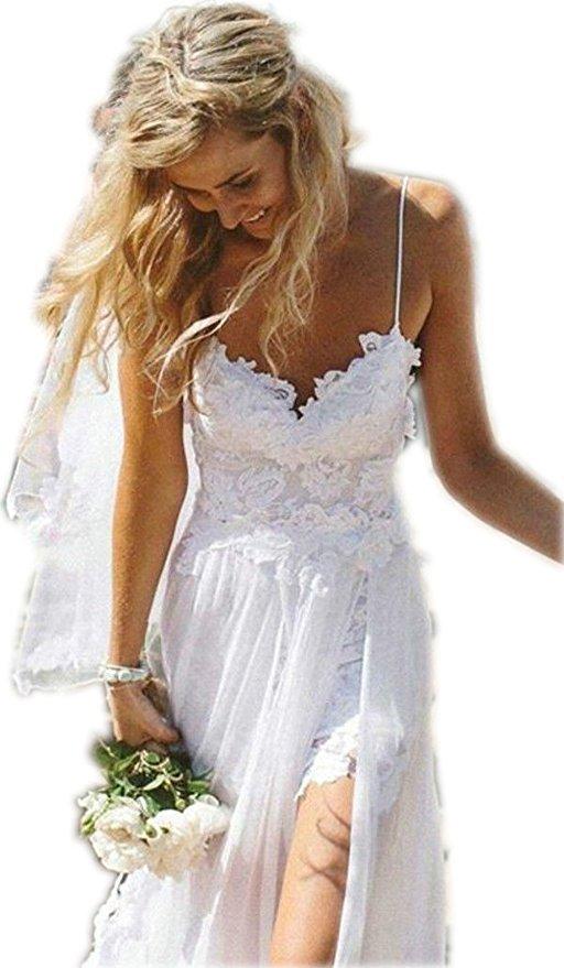 Spaghetti Straps Lace Bohemian/Boho Wedding Dress Backless,Beach Wedding Dress for sale  USA