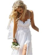 Spaghetti Straps Lace Bohemian/Boho Wedding Dress Backless,Beach Wedding... - $139.00