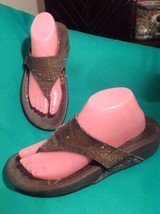 WOMENS SKECHERS TONE UPS BRONZE BROWN SPARKLE TOE POST SLIDE WALKING SAN... - £23.24 GBP