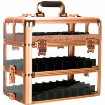 Rose Gold Nail Polish Holder Organizer Storage Makeup Cosmetic Train Cas... - $157.40
