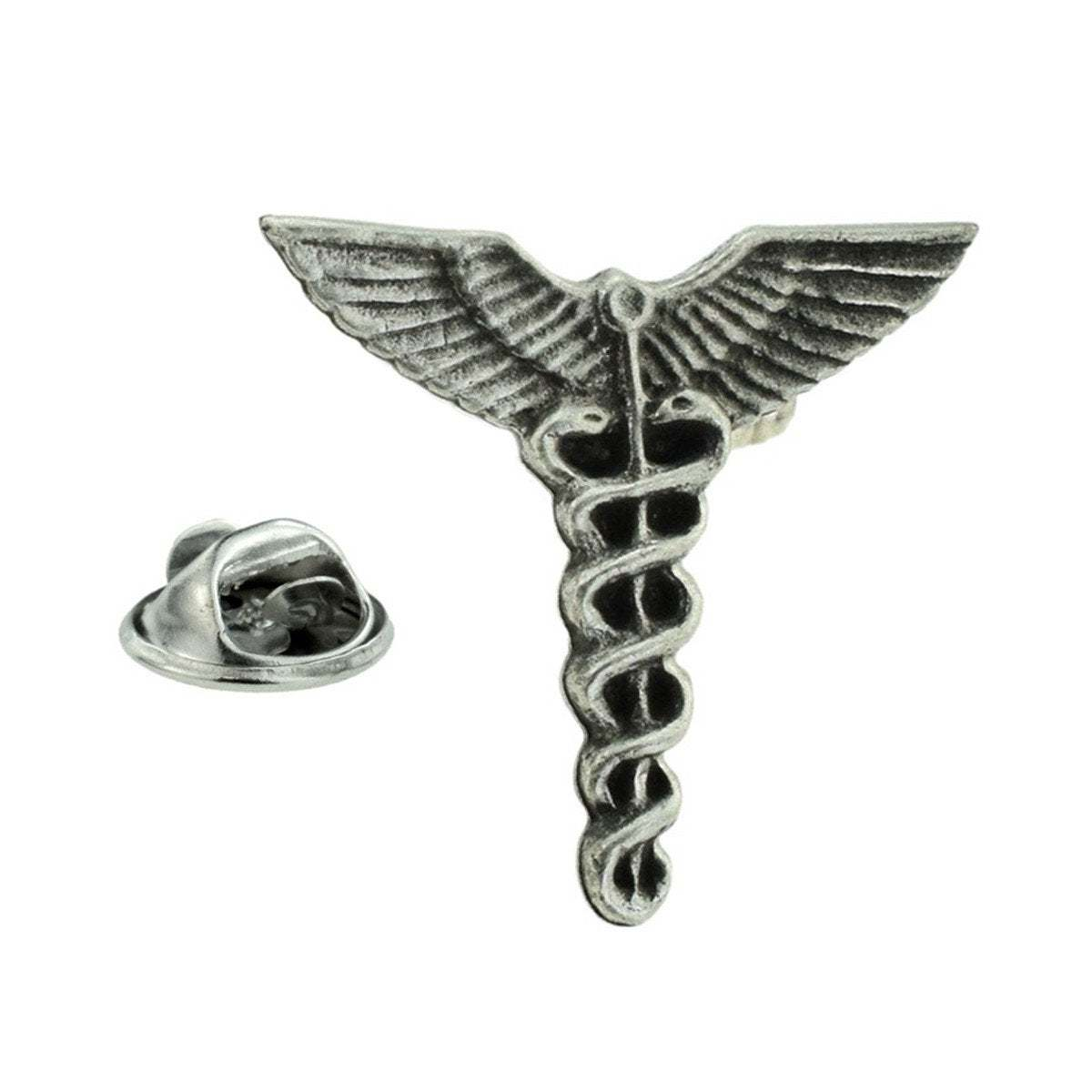 Silver Plated Caduceus Doctors Medical Lapel Pin Badge / tie pin. in gift box