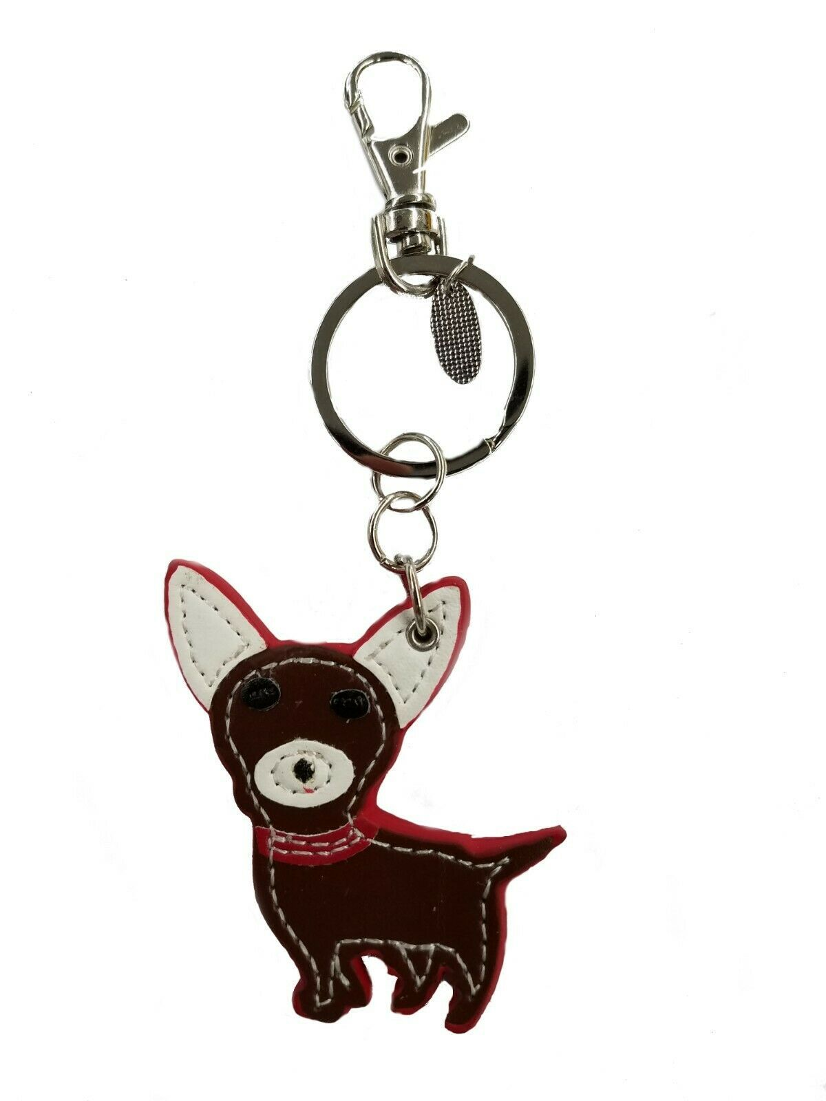 Primary image for NWT Genuine Leather Dog Keychain Chihuahua