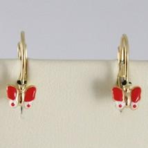 Baby Earrings in Yellow 750 18k charms, with butterflies Enamel, 1.7 cm image 1