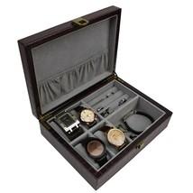 Decorebay Crocodile Leather Watch Cufflink jewelry Storage Box - seal Brown - $29.99