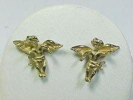 CHERUB ANGEL Vintage EARRINGS in Yellow Gold VERMEIL on STERLING SILVER - $42.00