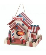 Patriotic Birdhouse Red White Blue Hanging Patio Bird House Garden 4TH o... - $29.90